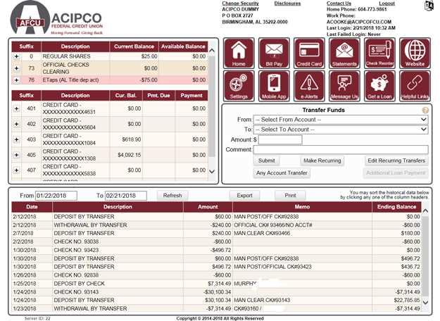 ACIPCO Federal Credit Union - Online Banking Tour